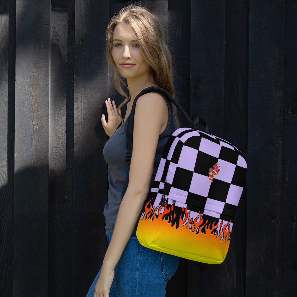 DRIP OR DYE | Checker Flames Backpack Purple Violet