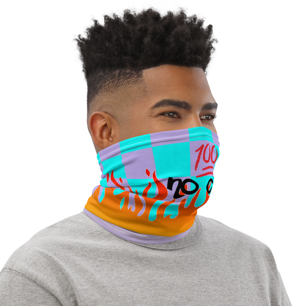 CRXWN | Drip or Dye Custom Checkers N' Flames Print 3-in-1 UNISEX Face Mask Teal Purple