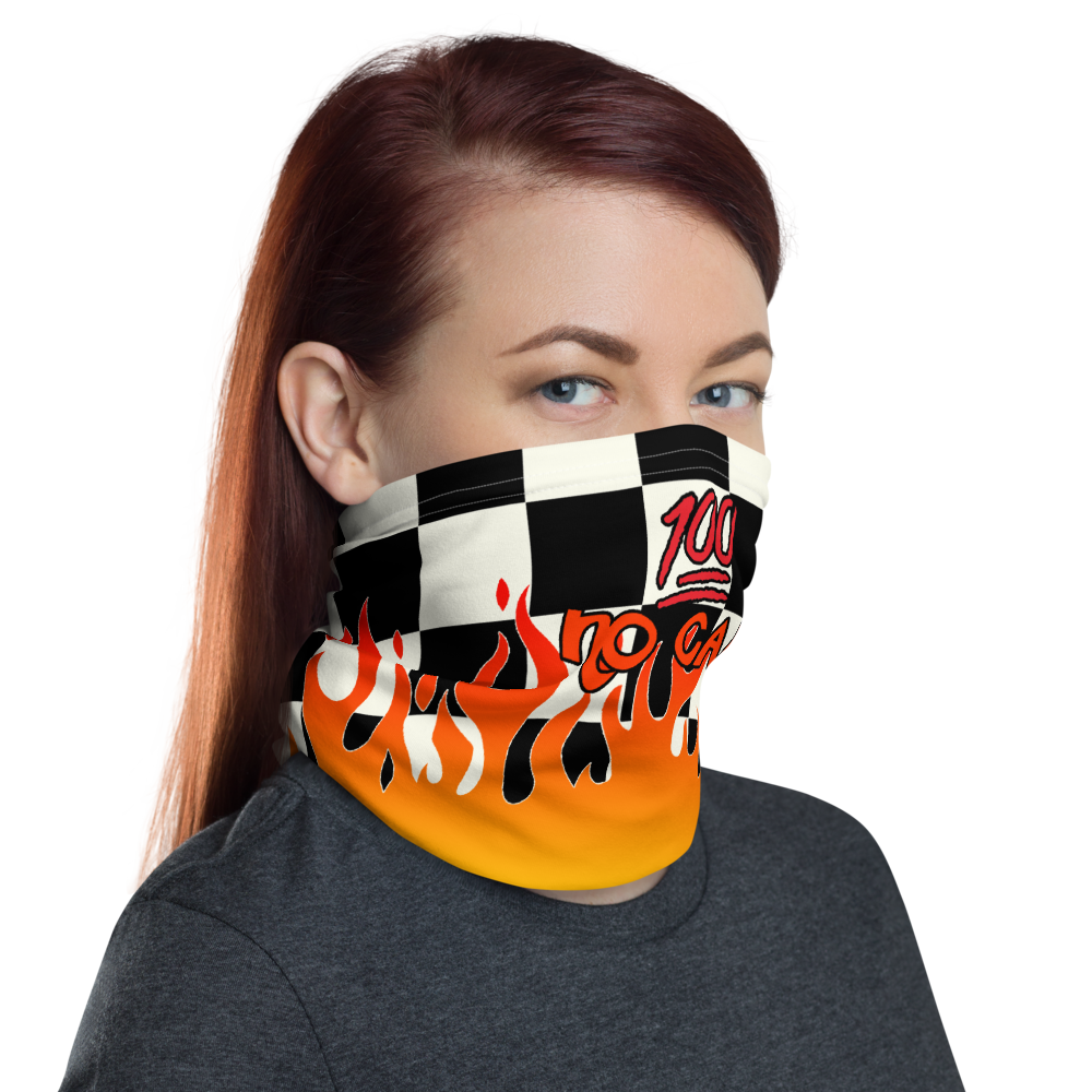 CRXWN | Drip or Dye Custom Checkers N' Flames Print 3-in-1 UNISEX Face Mask