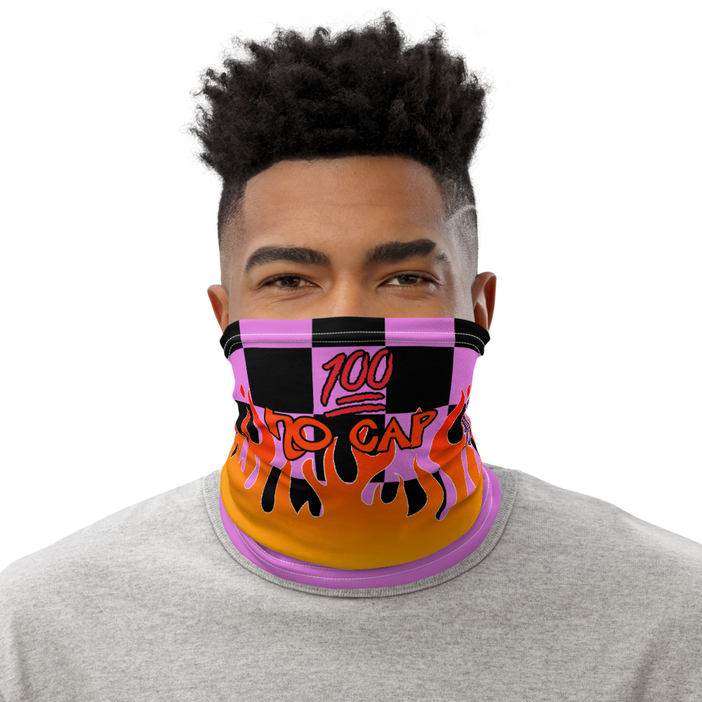 CRXWN | Drip or Dye Custom Checkers N' Flames Print 3-in-1 UNISEX Face Mask Digital Pink