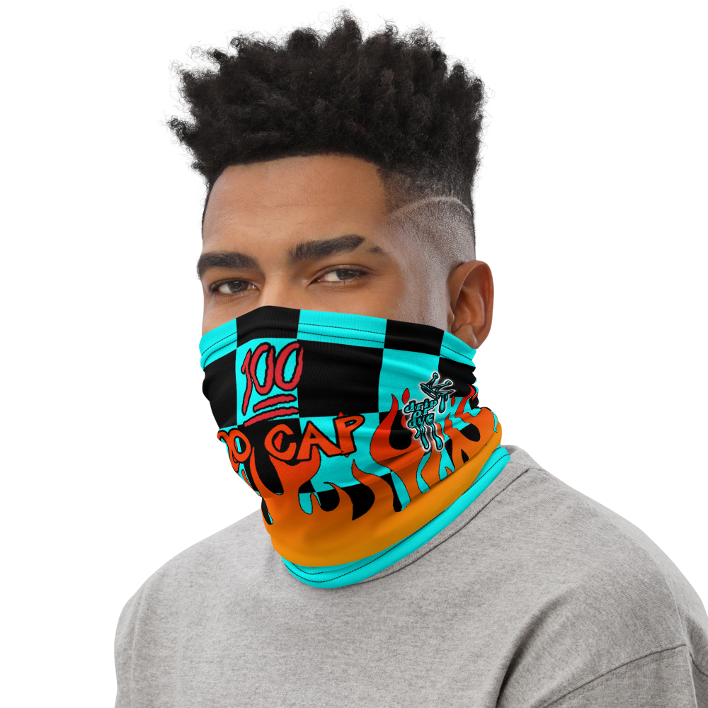 CRXWN | Drip or Dye Custom Checkers N' Flames Print 3-in-1 UNISEX Face Mask Teal