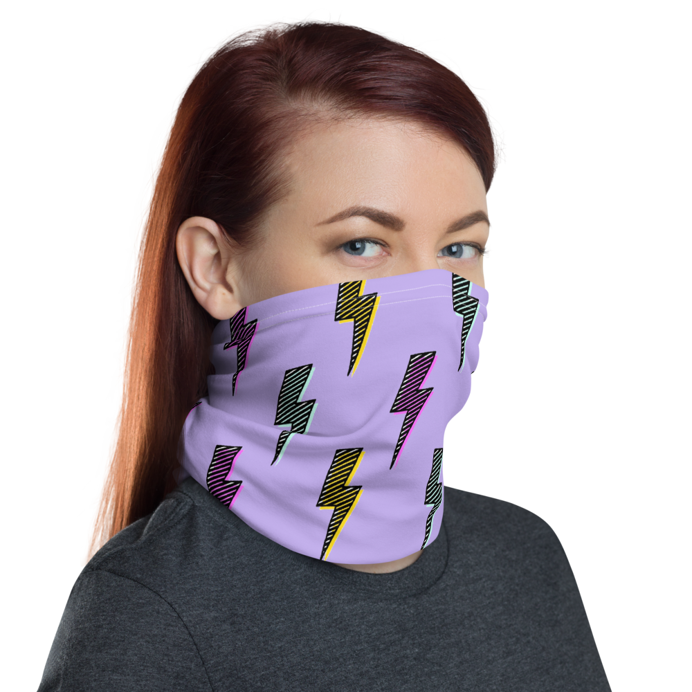CRXWN | Drip or Dye Custom 80s Retro Throwback Vintage Print 3-in-1 UNISEX Face Mask Lightning Bolt