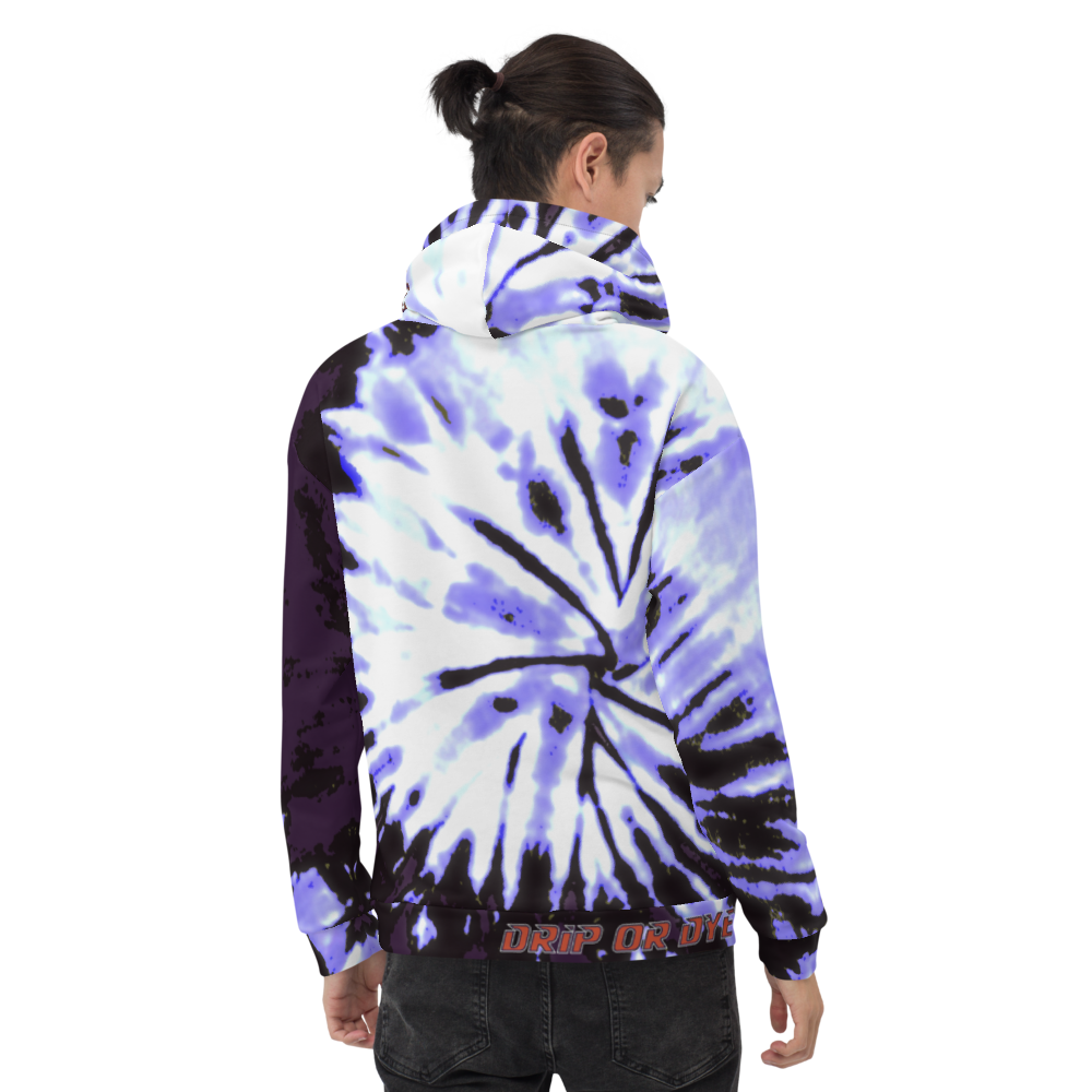 CRXWN | Drip or Dye | Tie Dye Season of Love 1 Cosmic Prophet Custom Unisex Hoodie Digital Spider Spiral Deep Purple Royal