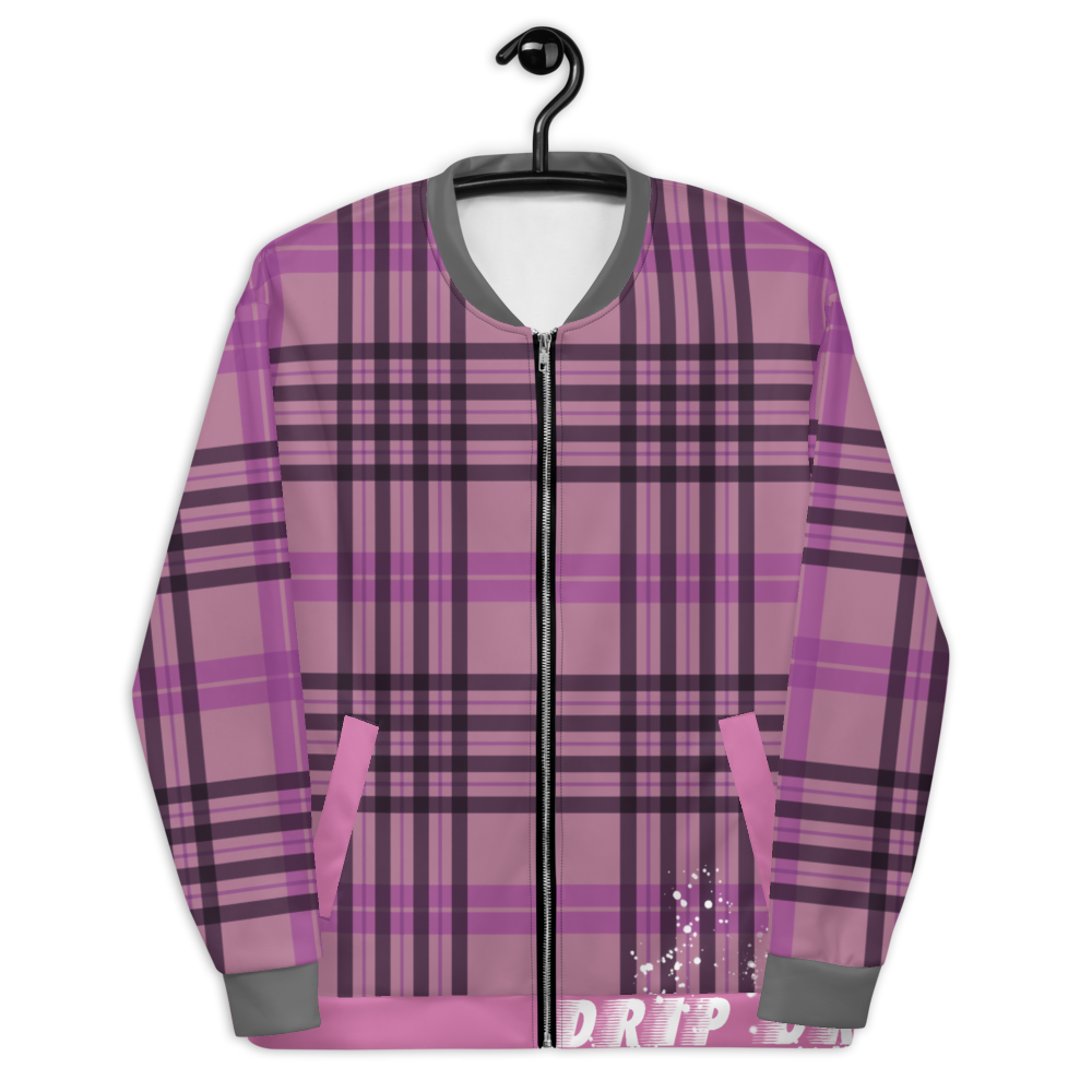 CRXWN | Drip or Dye | Plaid Season 1 Unisex Bomber Jacket Think Pink
