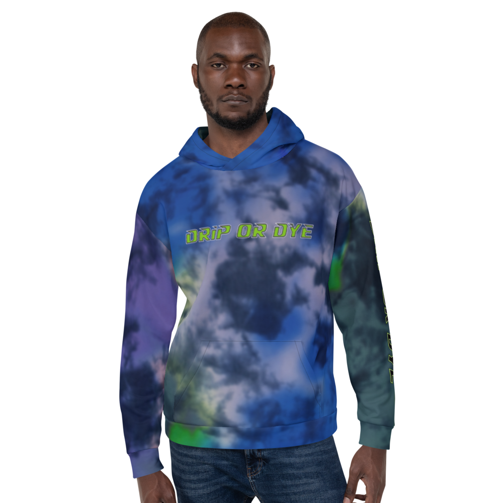CRXWN | Drip or Dye | Tie Dye Season of Love 1 Cosmic Prophet Custom Unisex Hoodie and the Heavens Parted Color Cloud Hyper Royal Blue Ocean