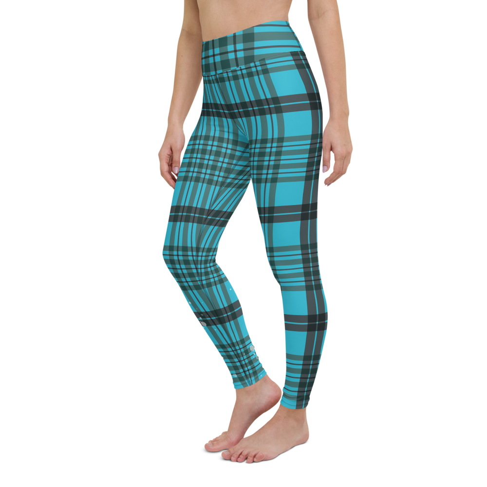 CRXWN | Drip or Dye | Plaid Season 1 Yoga Leggings Blue Reign