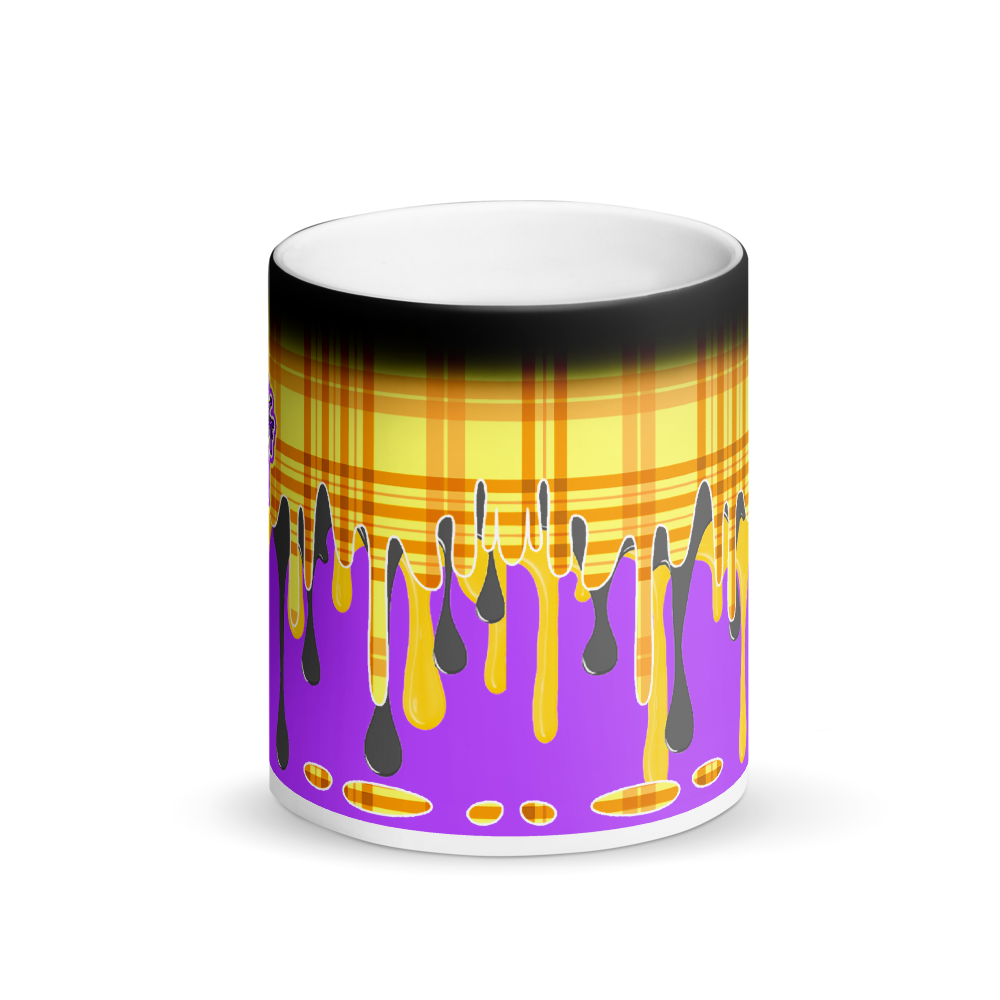 CRXWN | Drip or Dye | Plaid Season 1 Matte Black Magik Mug COFFEE MUG Grapes in Sunshine