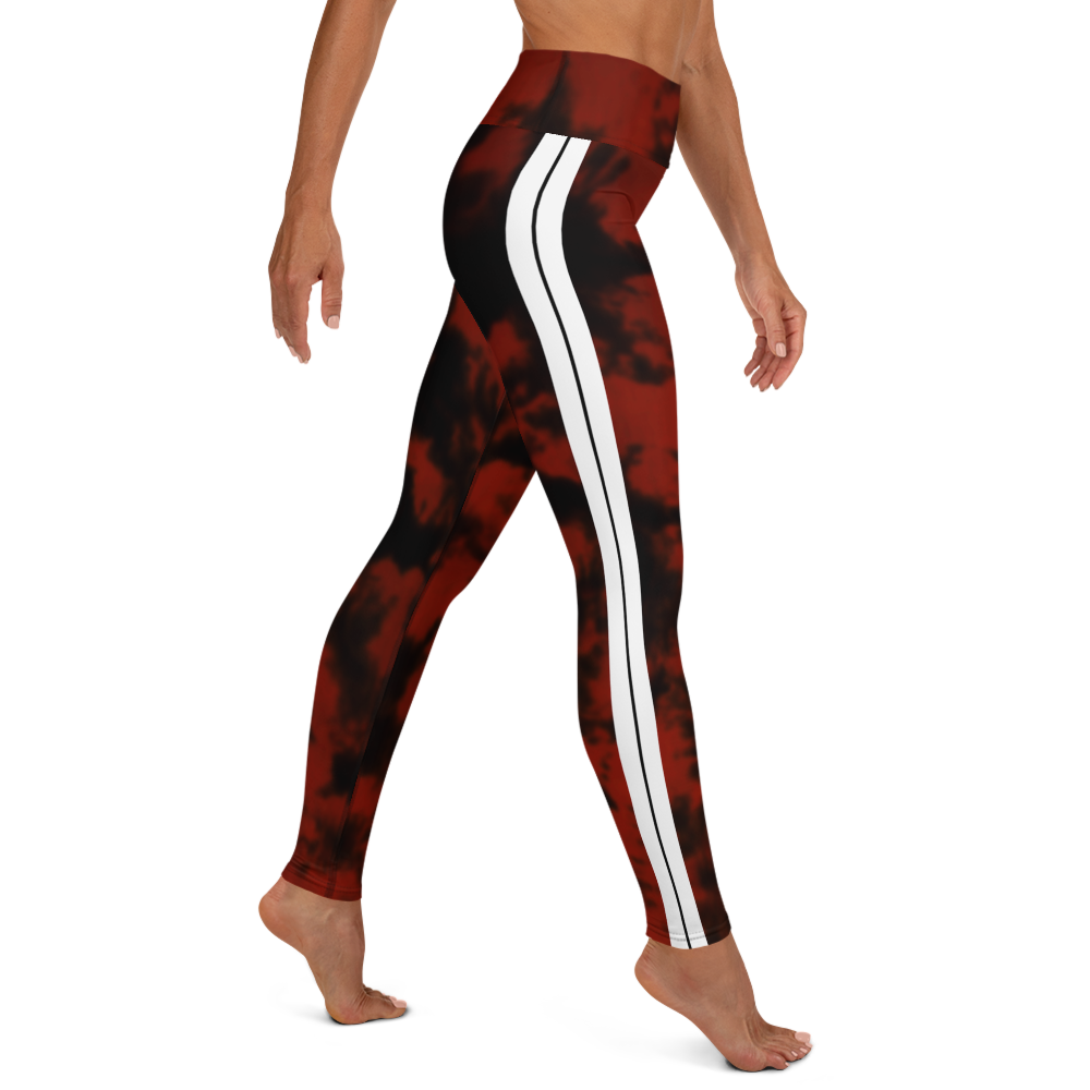 CRXWN | Royal Urban Resort 2021 | Trippy Drippy Bleach Acid Wash with Malibu Stripe Yoga Leggings Sunrise Sienna