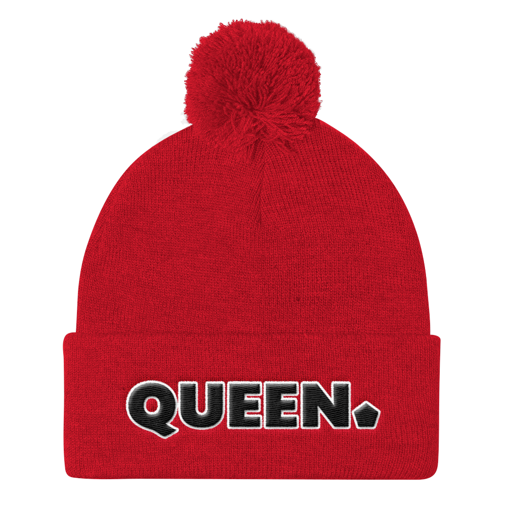 .R.O.Y.A.L. QUEEN POMPOM BEANIE RED