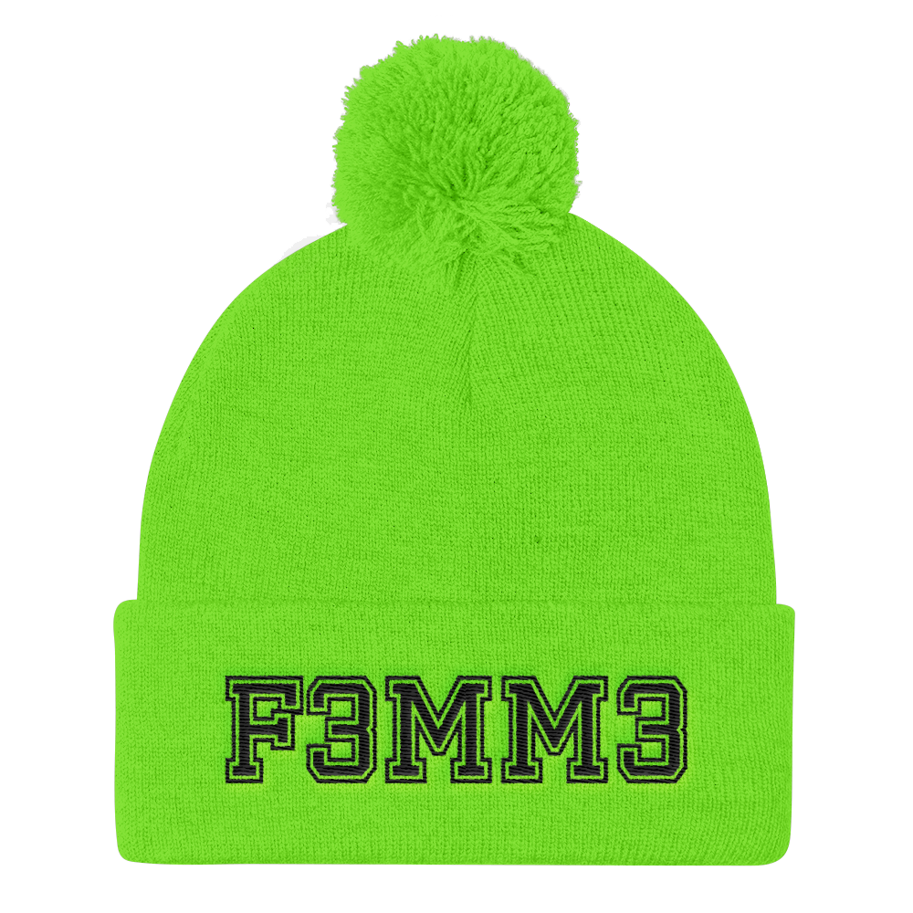 F3MM3 UNIVERSITY POMPOM BEANIE NEON GREEN