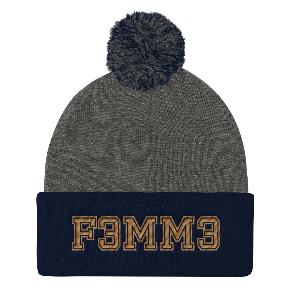 F3MM3 UNIVERSITY POMPOM BEANIE GREY & NAVY