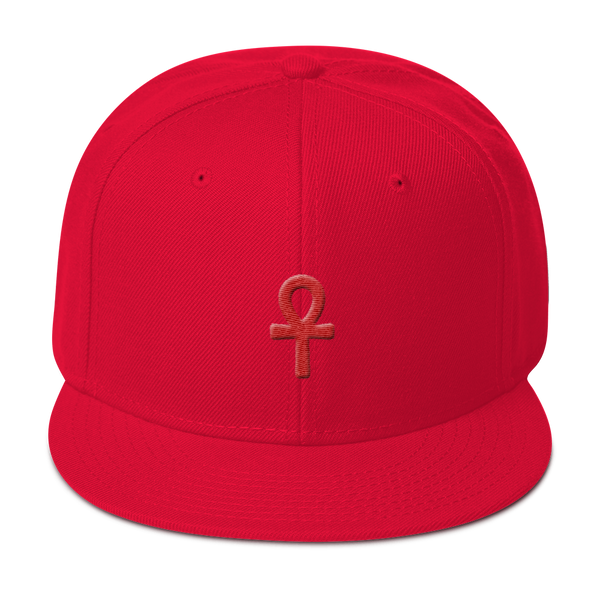 .ROYAL. ankh snapback RED