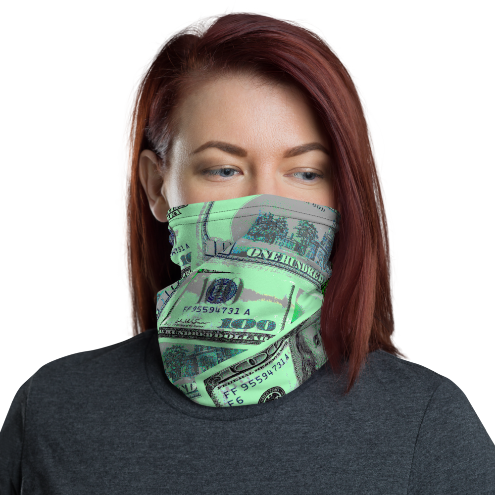 CRXWN | Drip or Dye Custom All About the Money Print 3-in-1 UNISEX Face Mask Teal
