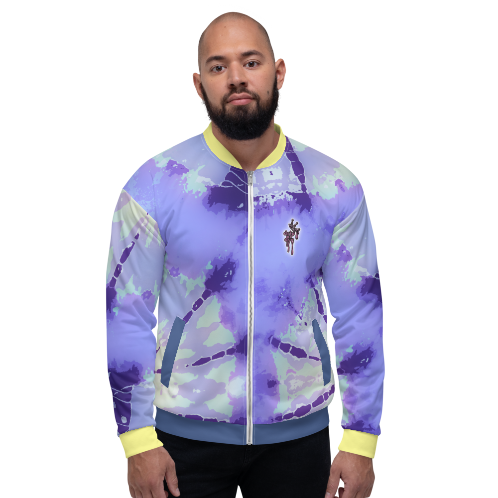 CRXWN | Drip or Dye Violet Photon Dust Ice Dye UNISEX Bomber Jacket Hearts Around the World Live Love Laugh