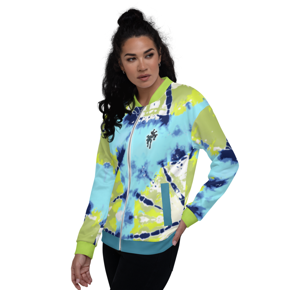 CRXWN | Drip or Dye Moss Green Ice Dye UNISEX Bomber Jacket Hearts Around the World Live Love Laugh