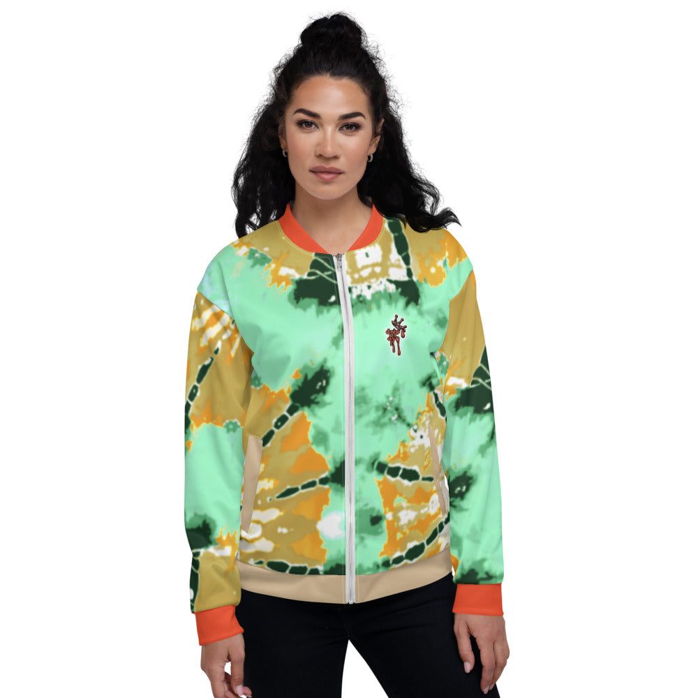 CRXWN | Drip or Dye Daybreak Vegas Gold College Orange Ice Dye UNISEX Bomber Jacket Hearts Around the World Live Love Laugh