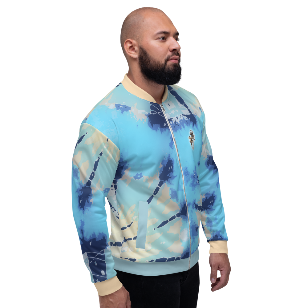 CRXWN | Drip or Dye Ice Blue Sky Linen Ice Dye UNISEX Bomber Jacket Hearts Around the World Live Love Laugh