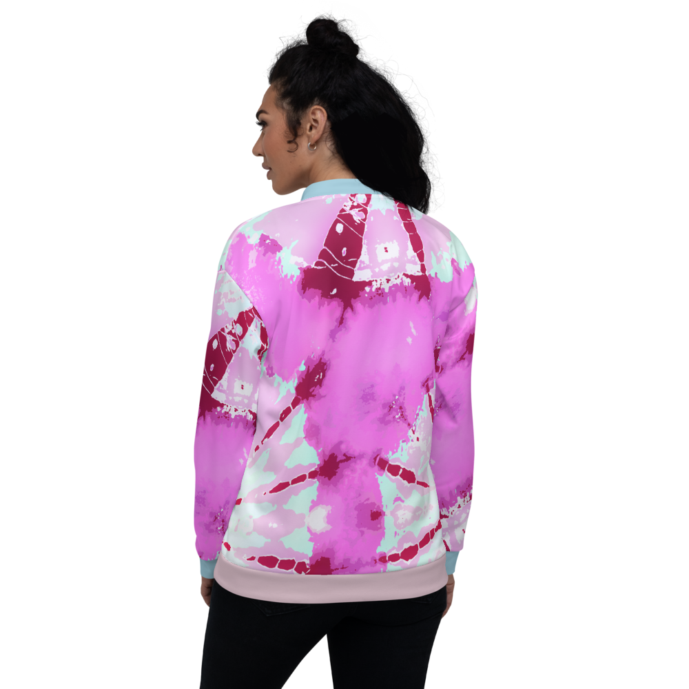 CRXWN | Drip or Dye Miami Nights Pink Foam Ice Dye UNISEX Bomber Jacket Hearts Around the World Live Love Laugh