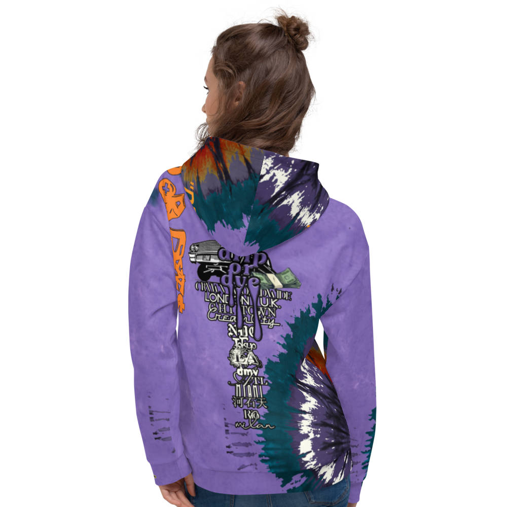 CRXWN | Drip or Dye Air Max 90 Recraft Hyper Grape Trippy Ice Dye UNISEX Hoodie 1