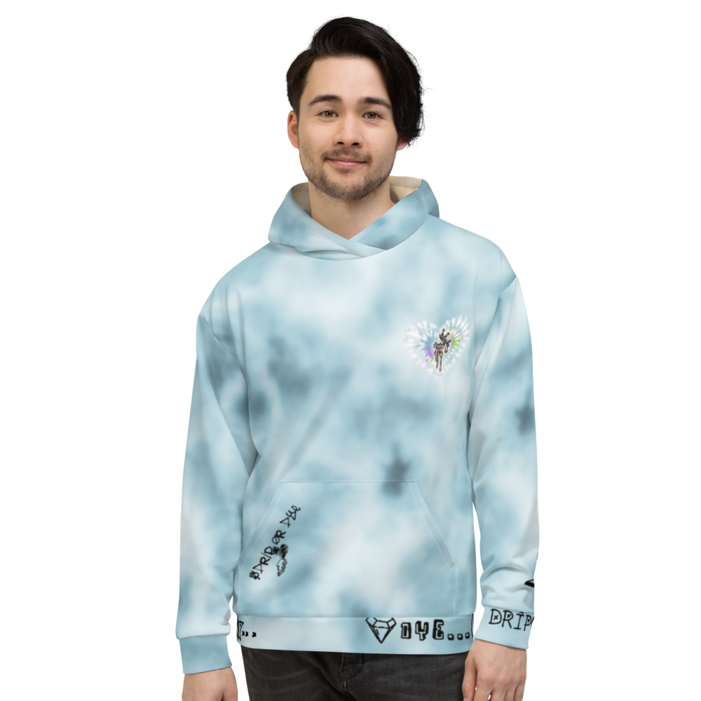 CRXWN | Drip or Dye Ice Blue Sky Linen Ice Dye UNISEX HOODIE Hearts Around the World Live Love Laugh