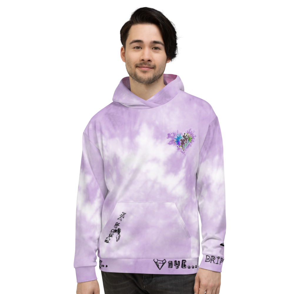 CRXWN | Drip or Dye Violet Photon Dust Ice Dye UNISEX HOODIE Hearts Around the World Live Love Laugh