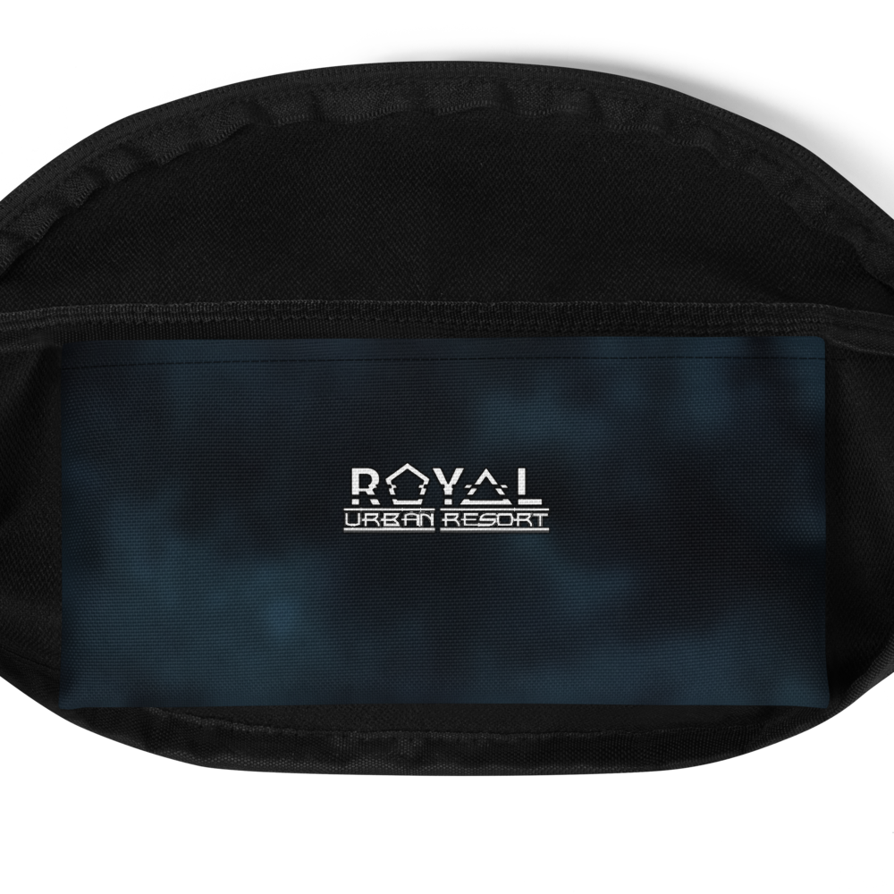 CRXWN | Royal Urban Resort 2021 | Trippy Drippy Bleach Acid Wash with Malibu Stripe Fanny Pack UNISEX Crossbody 2 Sizes 700 Sun Velvet Blue