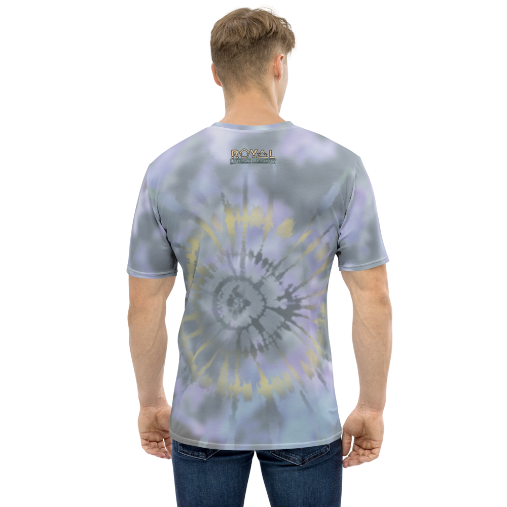 CRXWN | Royal Urban Resort 2021 | Trippy Drippy D4L By Any Means Bleach Acid Wash Unisex Jersey Tee Golden Wave Ash Blue Sunburst Tie Dye