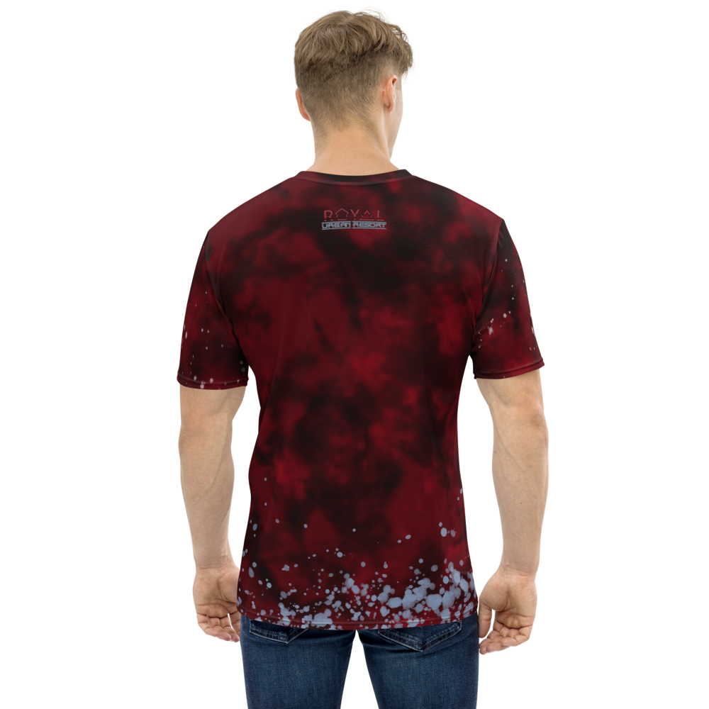 CRXWN | Royal Urban Resort 2021 | Trippy Drippy D4L By Any Means Bleach Acid Wash Unisex Jersey Tee Golden Wave Carmine Red Splatter Tie Dye