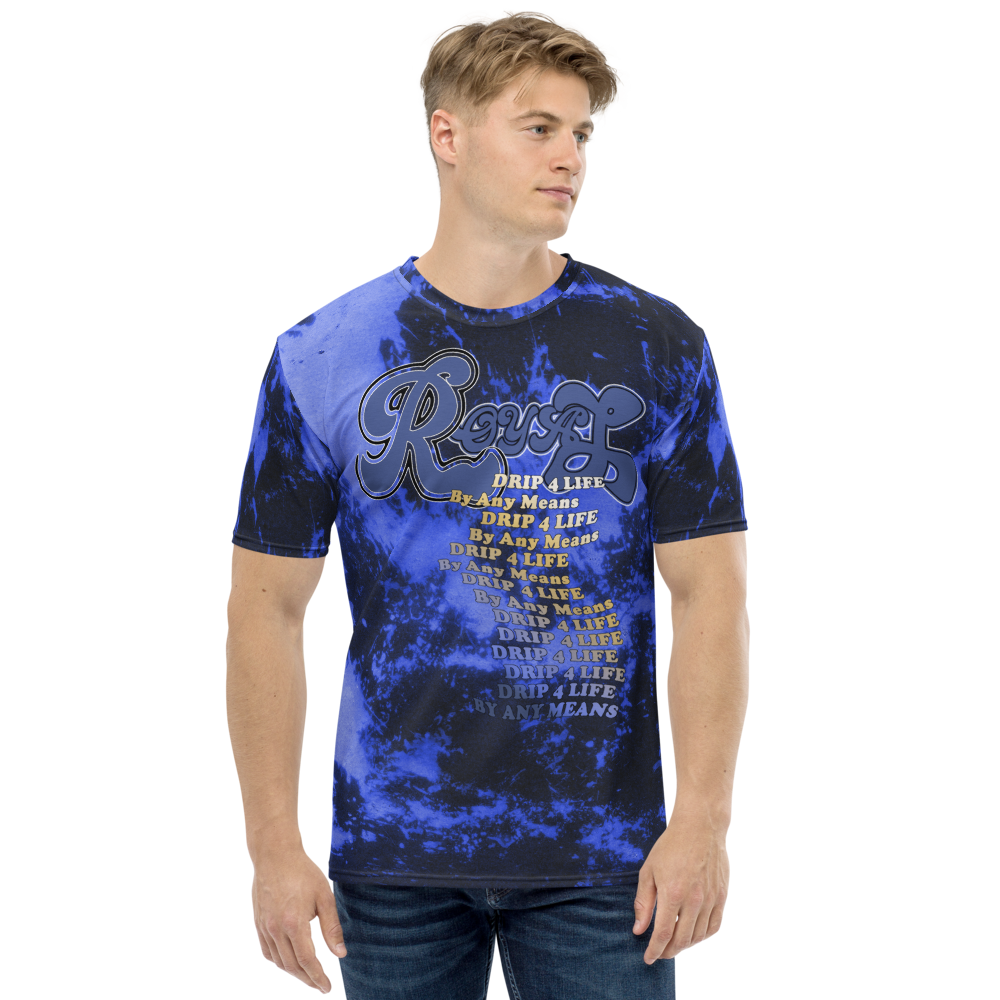 CRXWN | Royal Urban Resort 2021 | Trippy Drippy D4L By Any Means Bleach Acid Wash Unisex Jersey Tee Royal Wave Hyper Cobalt Blue