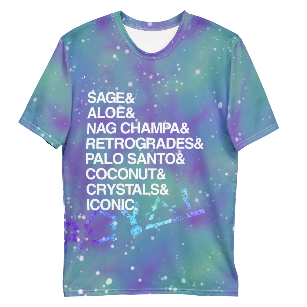 ROYAL ICONIC | Acid Wash Bleach Dye Galaxy Stars Sage & Retrogrades Ladies Unisex Cut Crewneck Jersey Tee Ascend Ether 3