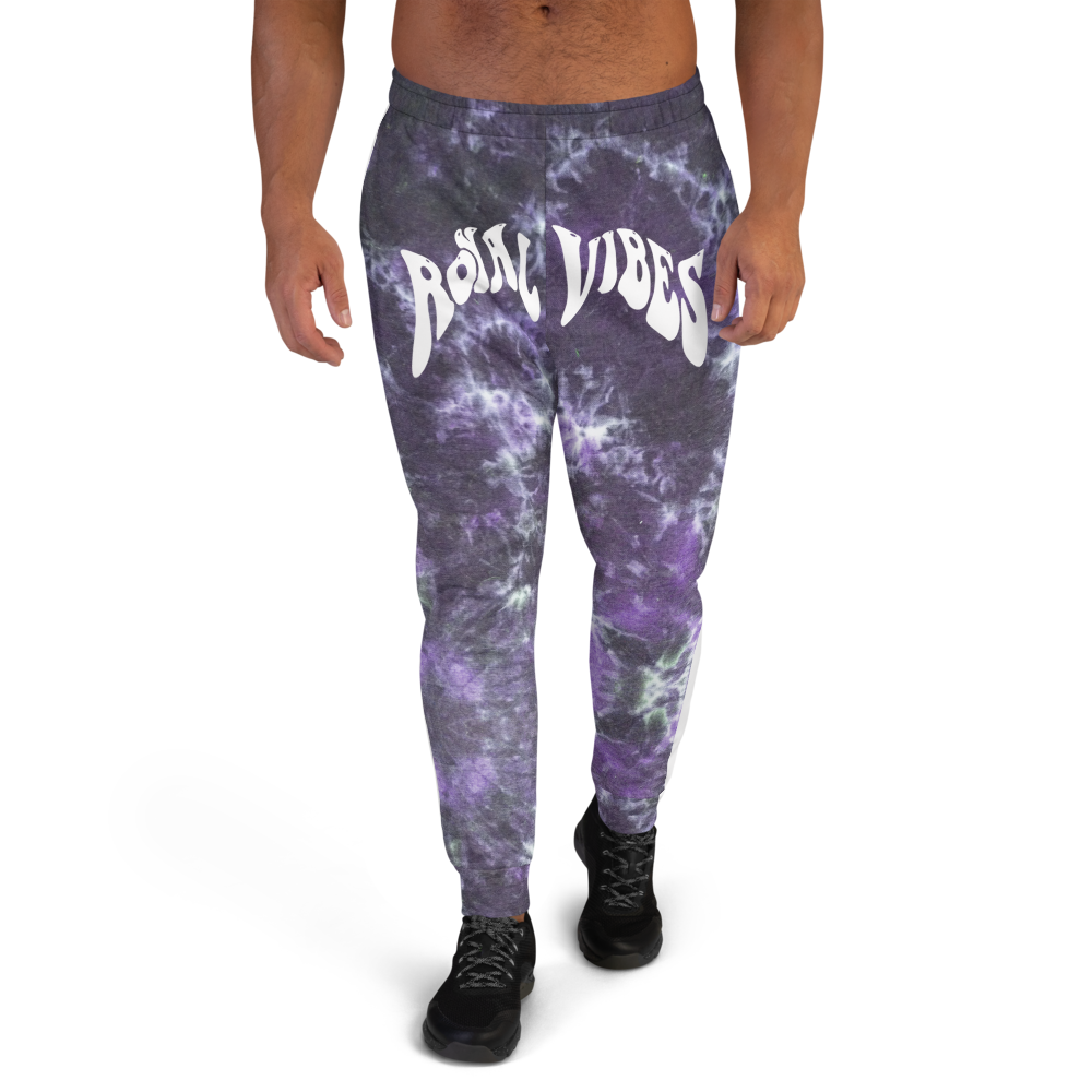CRXWN | Royal Urban Resort 2021 | Trippy Drippy Bleach Acid Wash with Malibu Stripe Unisex Jogger CMFT PSG Royal Purple