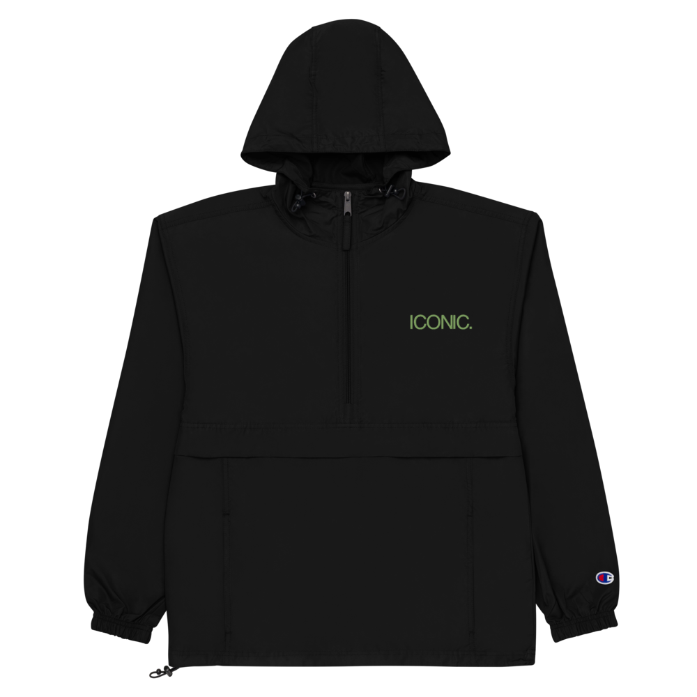 CHAMPION + ROYAL ICONIC. | Embroidered Logo Unisex Hooded Packable Windbreaker Lite Coaches Jacket Black w/ Kiwi Green Logo