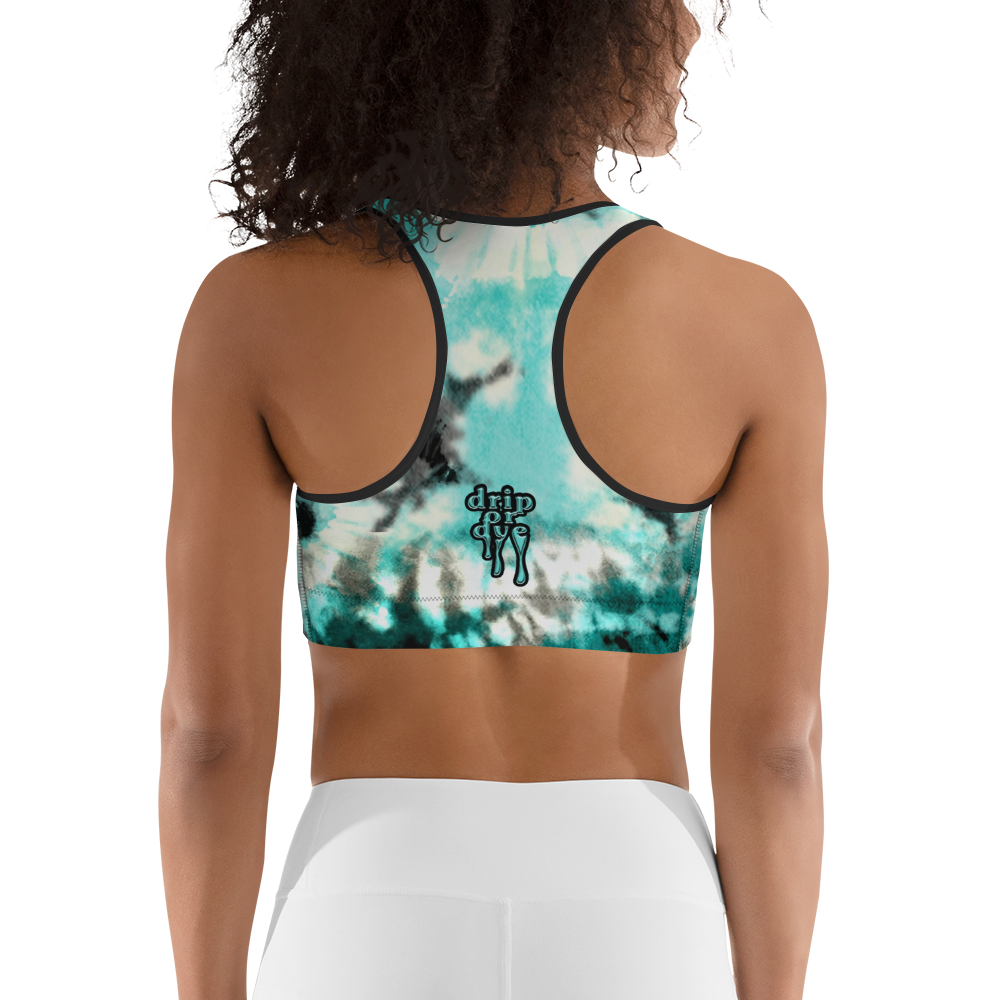 CRXWN | Drip Or Dye Max 90 Recraft Hyper Tourquoise HER Collection Tye Dye Custom Sports Bra