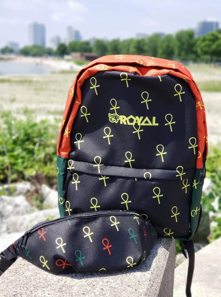 ROYAL. | Ra Pack Lightweight Backpack with hidden Pocket Nu Being All-Over Ankh