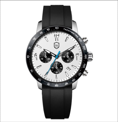Culture Chronograph Sport- White/Blue/Black Rubber Strap - Nine Four Watches