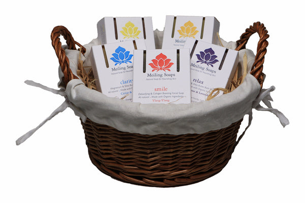 Natural Soap gift set 5 bar basket