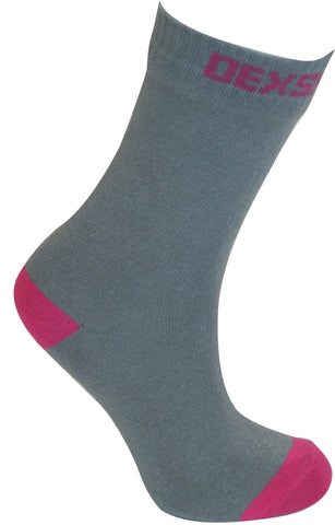 Ultra Thin Crew Length Waterproof Sock Grey Pink