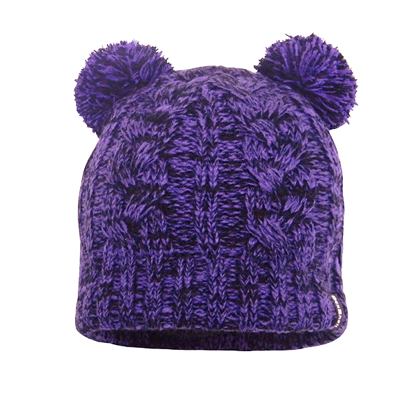 Children Beanie Cable Twin Pompom Purple