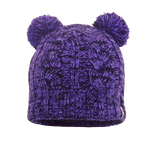 Children Waterproof Beanie Cable Twin Pompom Purple