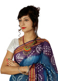 Blue Bandhani Saree