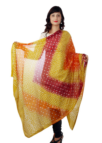 Golden Orange Bandhani Dupatta