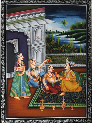 King with His Consorts Miniature Painting