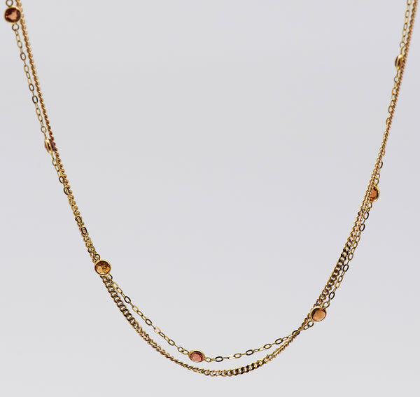 Jennifer-Kalled-double-chain-18k-gold-sapphire-necklace