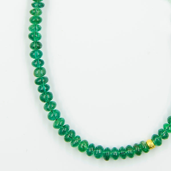 Jennifer-Kalled-emerald-14k-yellow-gold-beaded-necklace