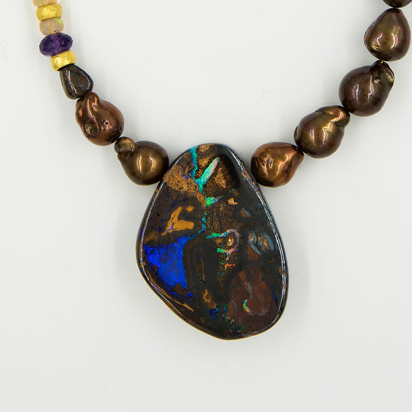 Jennifer-Kalled-boulder-opal-necklace-pearls-gold-beads-amethyst-kalled-gallery