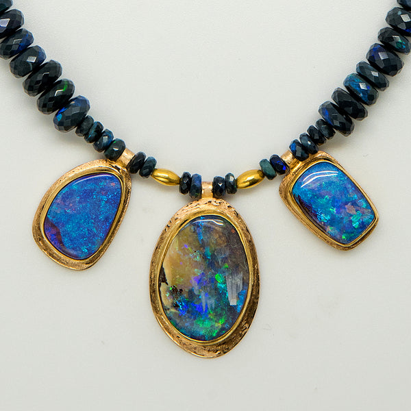 Jennifer-Kalled-Australian-boulder-opal-22k-18k-gold-necklace