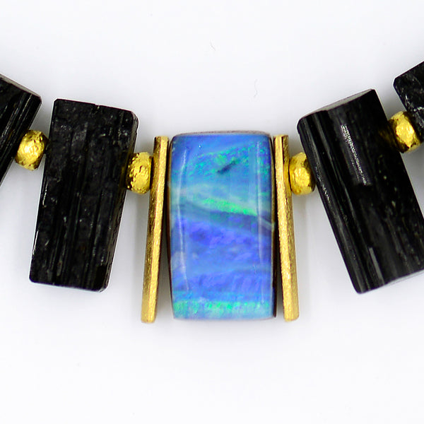 Jennifer-Kalled-boulder-opal-black-tourmaline-gold-necklace
