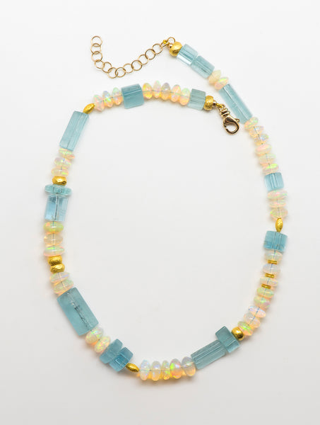 Jennifer-Kalled-aquamarine-ethiopian-opal-beaded-necklace-18k-gold-beads