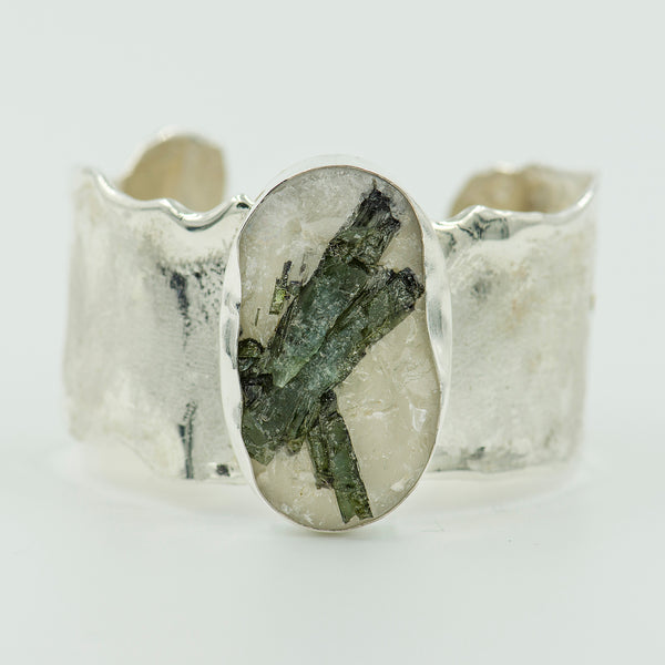green-tourmaline-quartz-sterling-silver-cuff-bracelet-Jennifer-Kalled