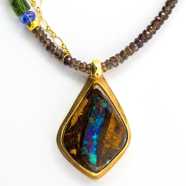 opalized-wood-boulder-opal-australian-necklace-pendant-Jennifer-Kalled
